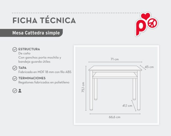 ficha tecnica mesa cattedra simple